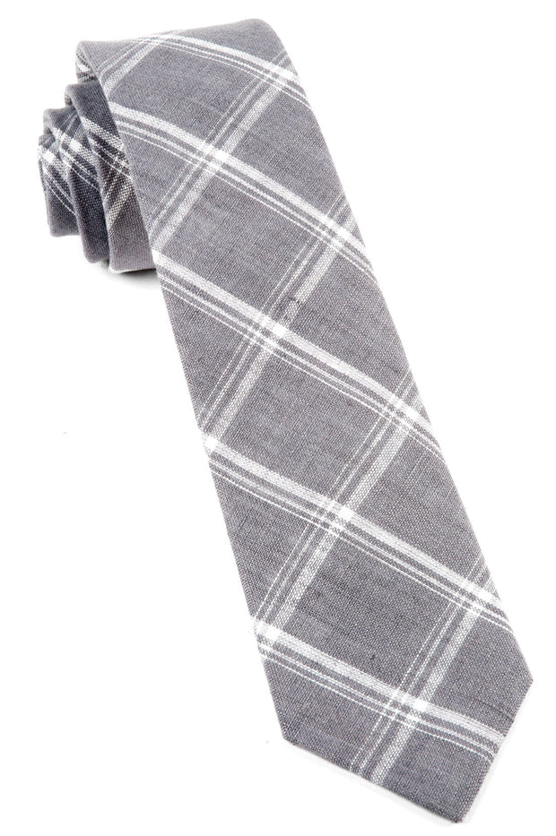 Gray Jet Plaid Tie