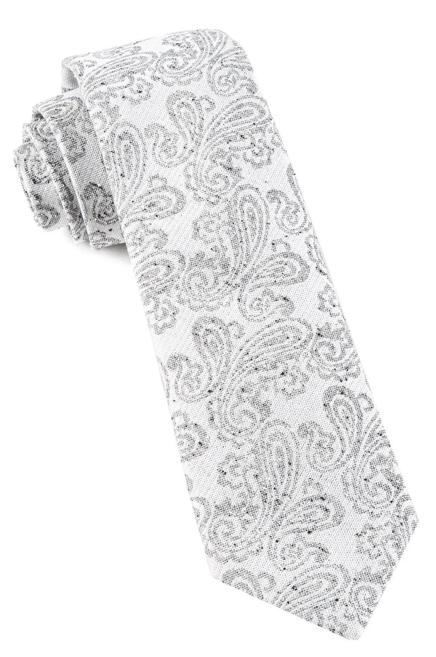 White Hanging Paisley Tie