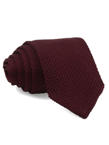 Burgundy Pointed Tip Knit Tie
