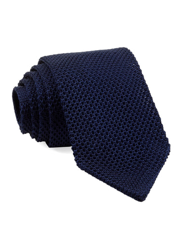 Navy Pointed Tip Knit Tie