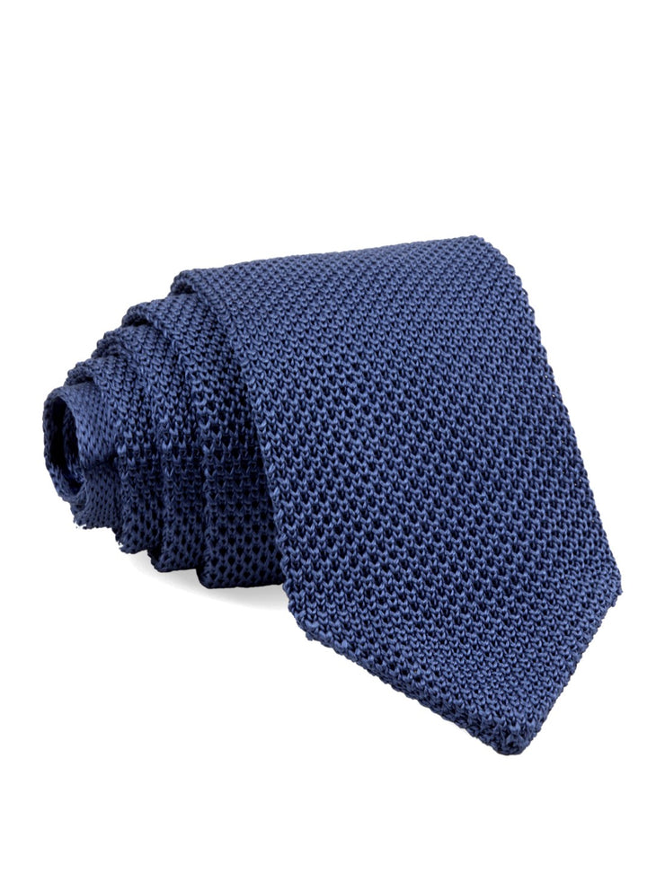 Slate Blue Pointed Tip Knit Tie