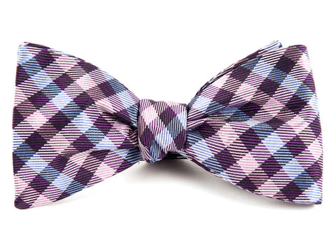 Plum Polo Plaid Bow Tie