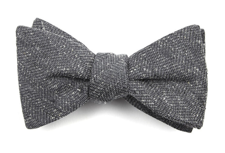 Threaded Zig Zag Grey Bow Tie
