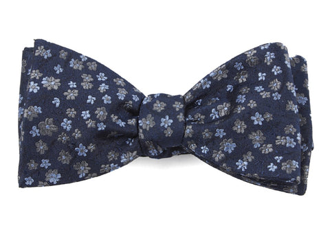 Navy Free Fall Floral Bow Tie