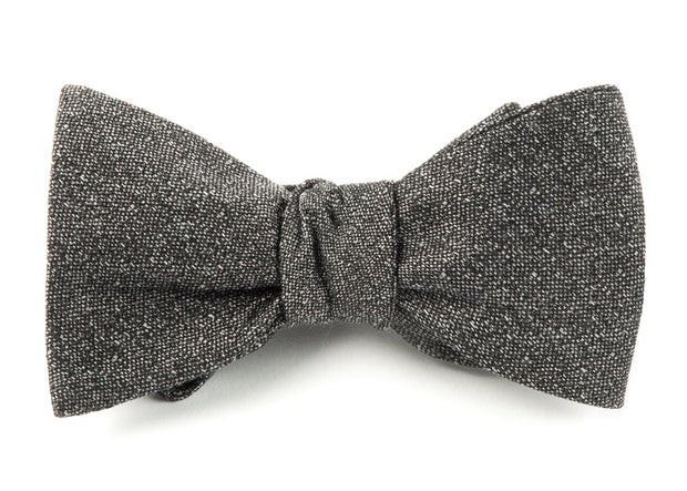 Gray Linen Stitched Bow Tie