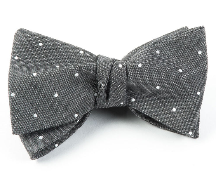 Gray Bulletin Dot Bow Tie