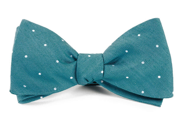 Teal Bulletin Dot Bow Tie