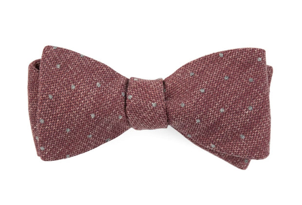 Raspberry Redwood Dot Bow Tie