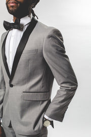 Pursuit Light Gray Slim Fit Shawl Collar Tuxedo Coat - FINAL SALE