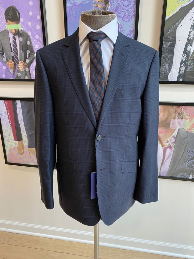 Pursuit Charcoal with Blue Plaid Slim Suit Coat