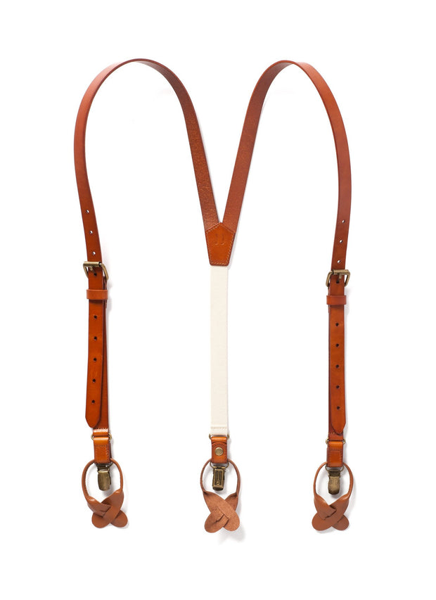 JJ Suspenders Dark Tan Leather Suspenders
