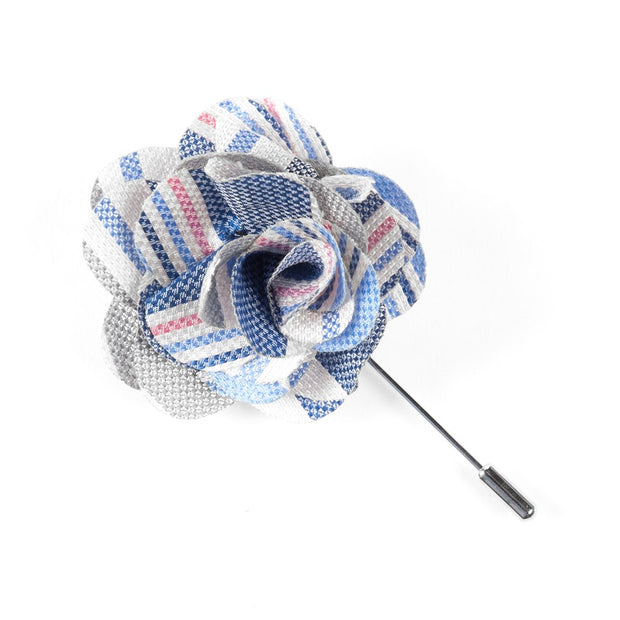 Light Blue Washed Stripe Lapel Flower