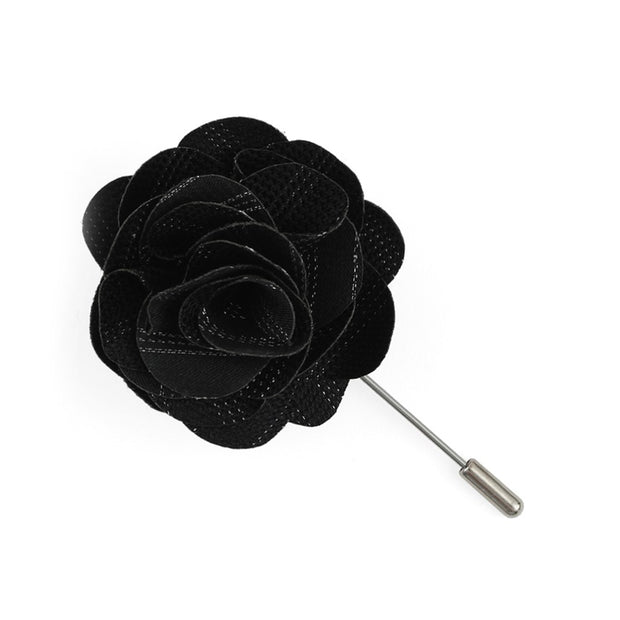 Black Studded Stripe Lapel Flower Pin