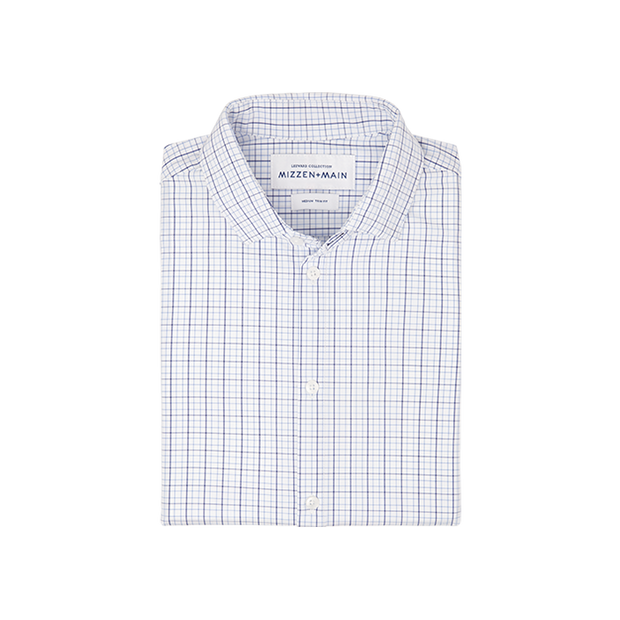 Mizzen + Main Miller Blue & White Multi Plaid Shirt