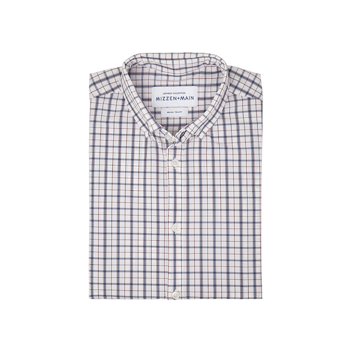 Mizzen + Main Moore Blue White Multi Check Shirt