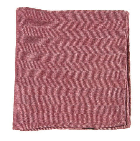 Wine Flannel Herringbone Pocket Squares