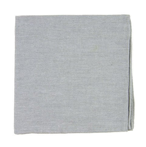 Light Gray Flannel Herringbone Pocket Square