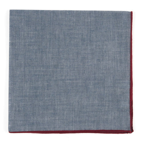 Denim Chambray Pocket Square With Burgundy Border