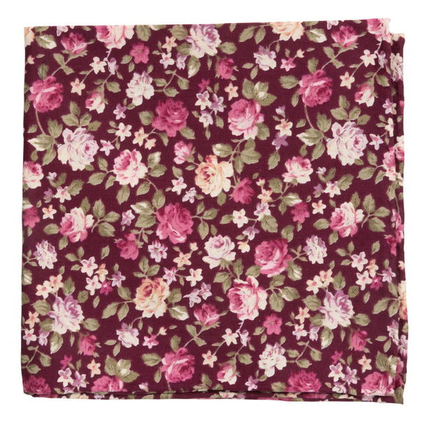 Burgundy Moody Florals Pocket Square