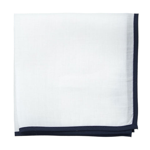 White Linen with Navy Border Pocket Square