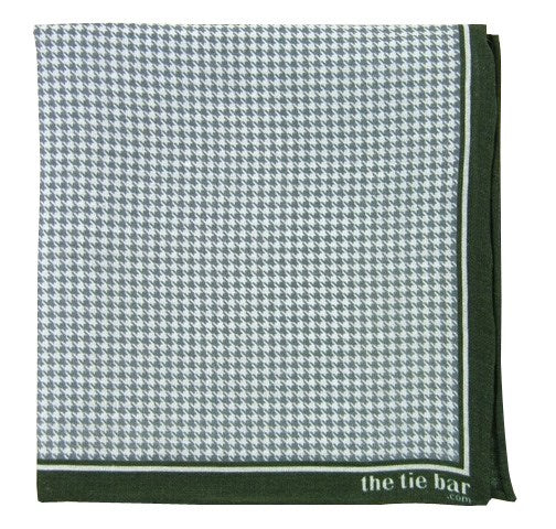 Hunter Green Printed Linen Houndstooth Pocket Square