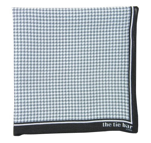 Faded Black Printed Linen Houndstooth Pocket Square