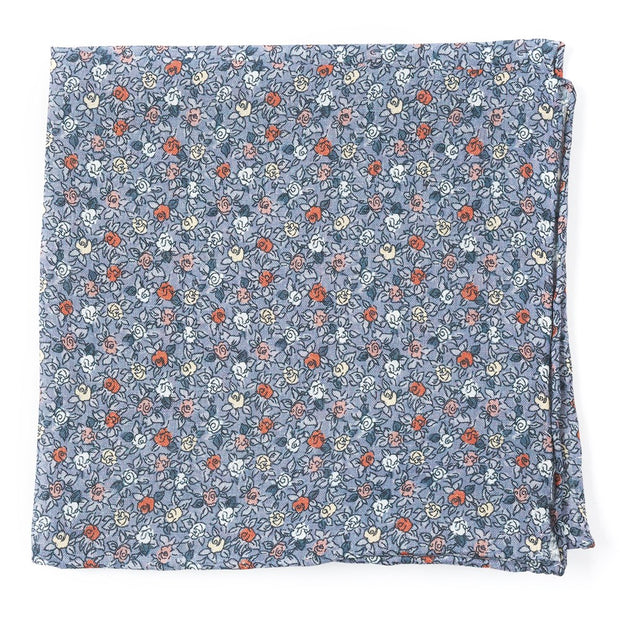 Gray Floral Buzz Pocket Square