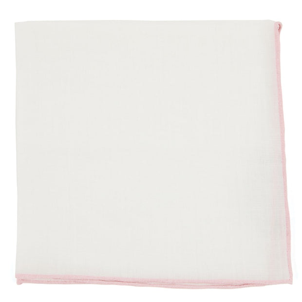 White Linen with Blush Pink Rolled Border Pocket Square