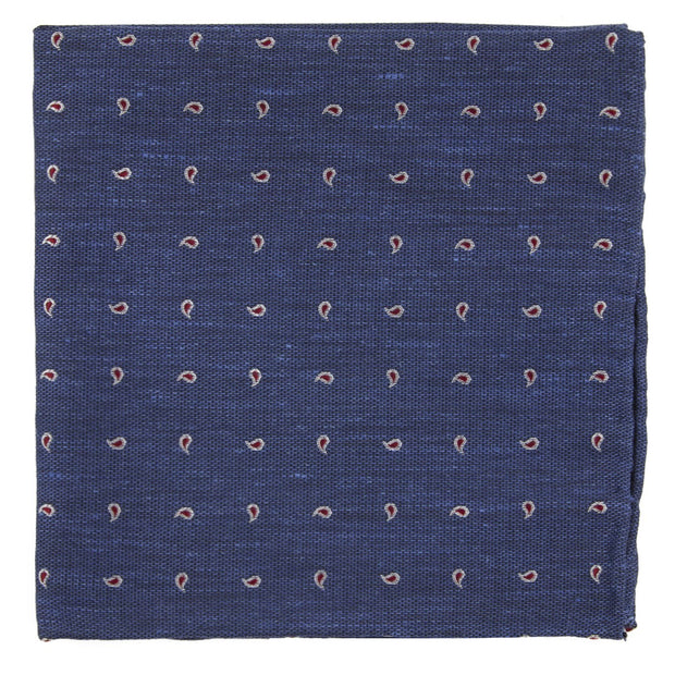 Navy Budding Paisley Pocket Square