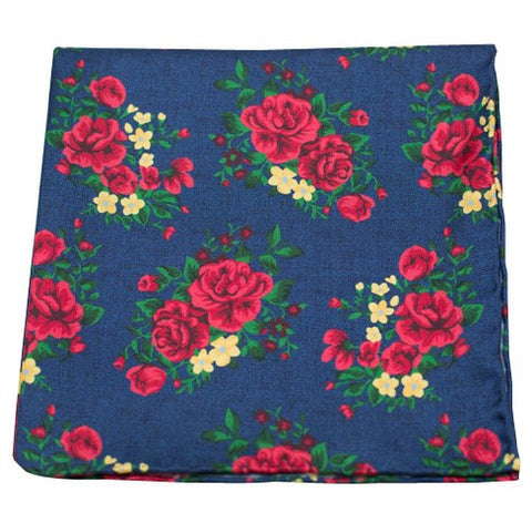 Navy Hinterland Floral Pocket Square
