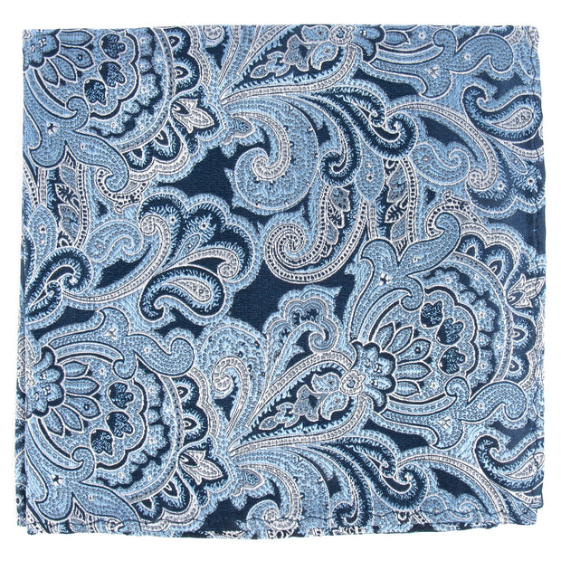 Navy Designer Paisley Pocket Square
