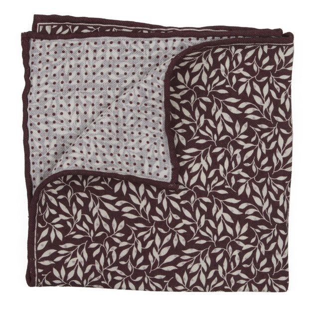 Burgundy Domino Sprout Pocket Square