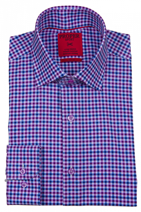 Proper Sport Purple and Blue Check Performance Stretch Dress Shirt