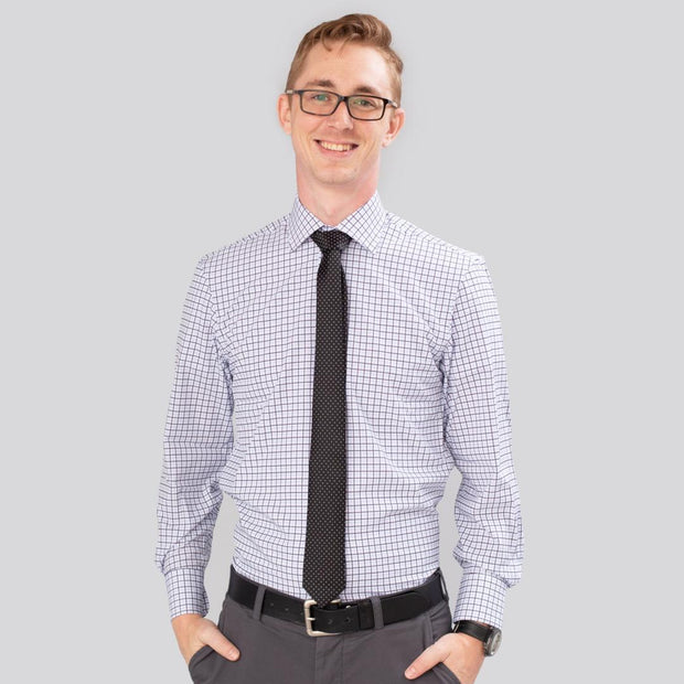Proper Sport Blue Check Performance Stretch Dress Shirt