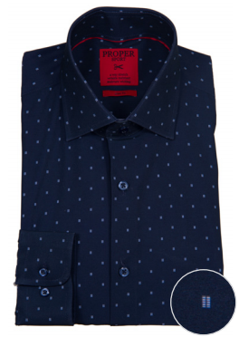 Proper Sport Navy Print Performance Stretch Dress Shirt