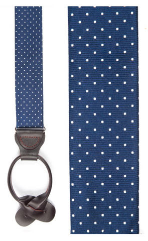Mini Dot Navy Loop Suspenders