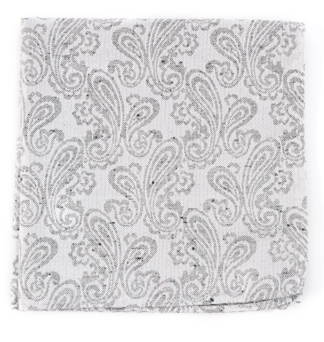 White Hanging Paisley Pocket Square