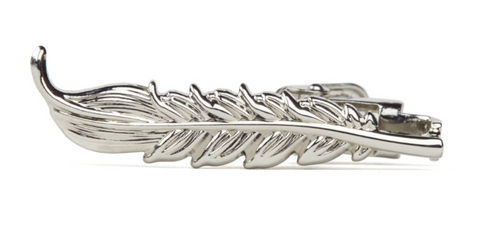 Silver Feather Tie Clip