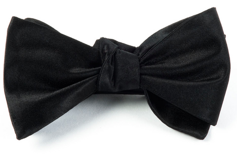 Black Solid Satin Bow Tie