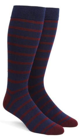 Burgundy Trad Stripe Socks