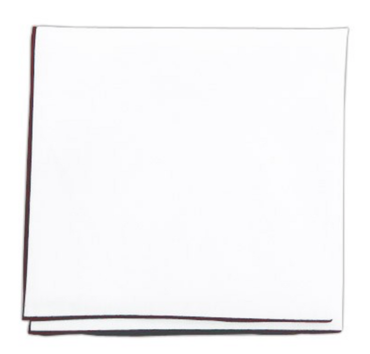 White Pocket Square With Burgundy Border