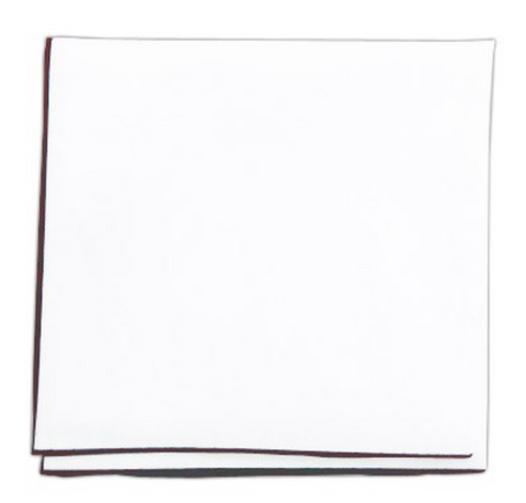 White Cotton Pocket Square With Burgundy Border