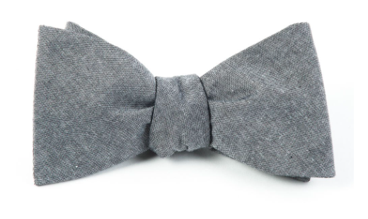 Soft Grey Classic Chambray Bow Tie