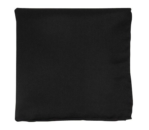 Black Solid Twill Pocket Square