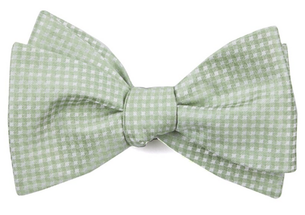 Be Married Checks Sage Green Bow Tie