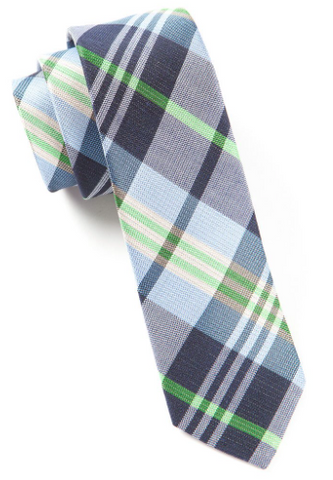 Navy Crystal Wave Plaid Tie