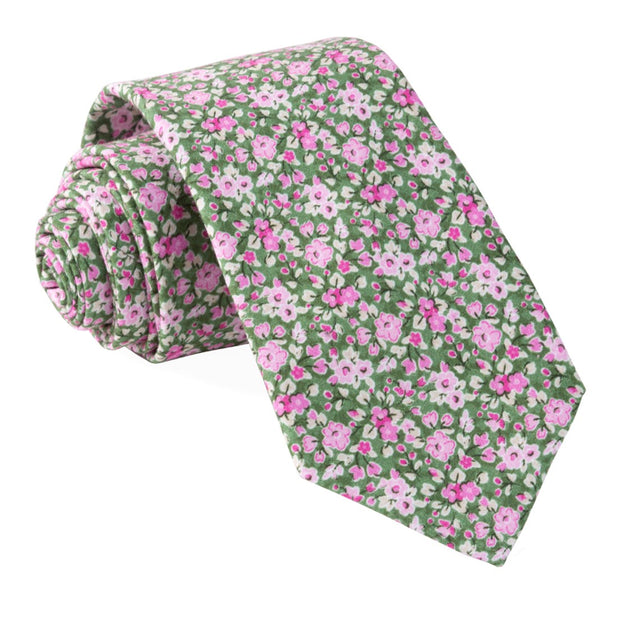 Olive Freesia Floral Tie