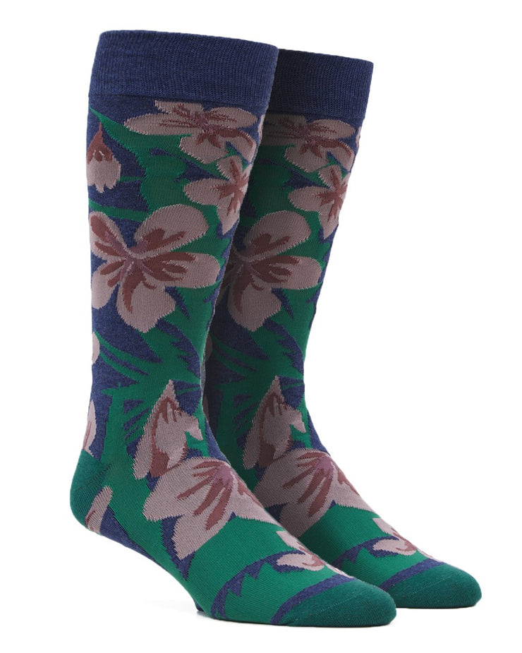 Navy Oversized Tropical Floral Socks