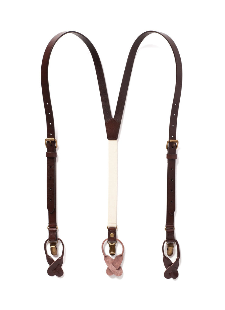 JJ Suspenders Chestnut Brown Leather Suspenders