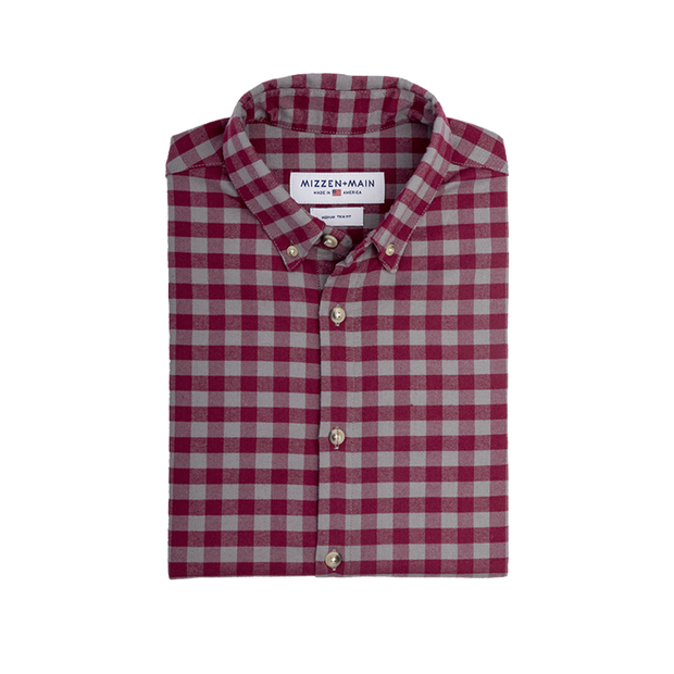 Mizzen + Main Cordova Red & Gray Gingham Slim Fit Flannel Shirt